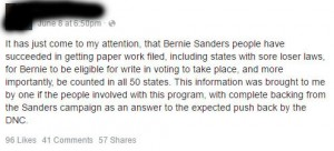 Write In Votes Bernie